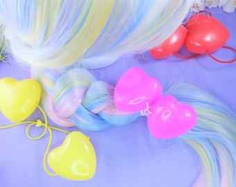 Jumbo heart bobo hair ties, double heart hair tie, decora, fairy kei, kidcore, clowncore, rainbow, primary colors, bright, bubble elastics