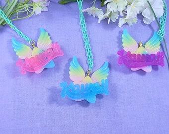 Kawaii star and wing two way necklace and pin- for kawaii fashion, decora, fairy kei, spank kei, mahou kei,