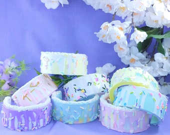 Cake fail drippy icing and sprinkle cuffs for Fairy kei, decora, lolita and other sweet fashions, Kawaii food jewelry, bracelet, OOAK