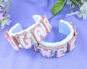 Summer Sweets Sugar Cookie cuff bracelet- Customizable Kawaii fashion, lolita fashion, sweet lolita, fairy kei, decora, food jewelry, cookie