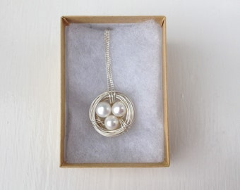 Pearl Necklace - Pearl Jewellery - Freshwater Pearl and Sterling Silver necklace - June Birthstone - Pearl Nest Necklace - Mother's Day
