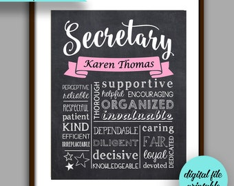 Secretary Gift Administrative Assistant Chalkboard Style Printable Christmas Thank You