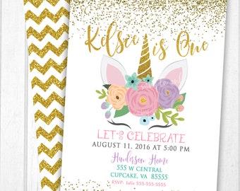 Unicorn Invitation Party Glitter Birthday Digital File Invite