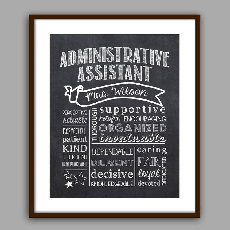 Administrative Assistant Gift Secretary  Chalkboard Style image 0