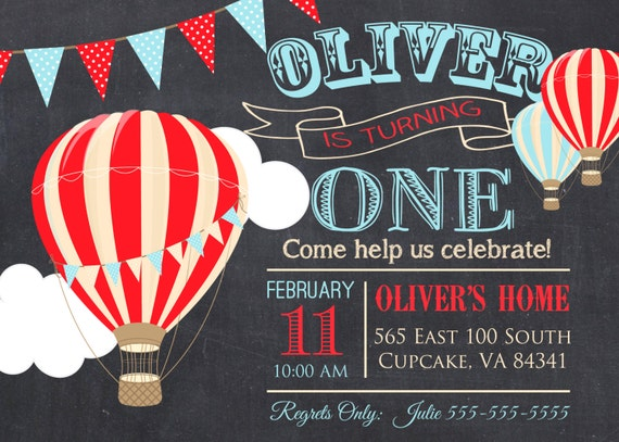 Hot air balloon birthday party invitation 5x7 or 4x6 etsy image 0 filmwisefo