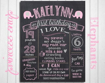 Elephant First Birthday Chalkboard Poster - Pink Elephant 1st Birthday Chalk Board Sign - Printable Photo Prop