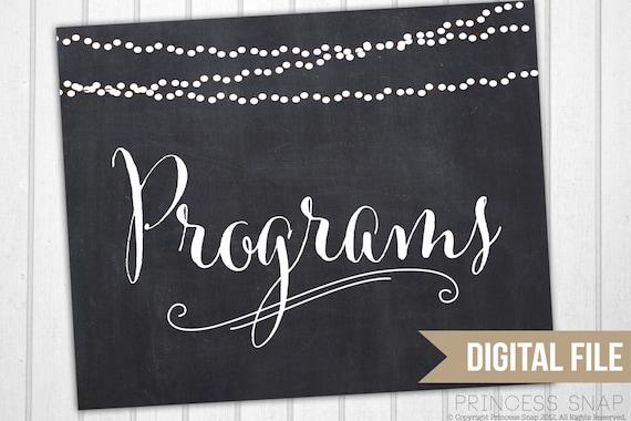 Programs Wedding Sign Rustic Printable Table