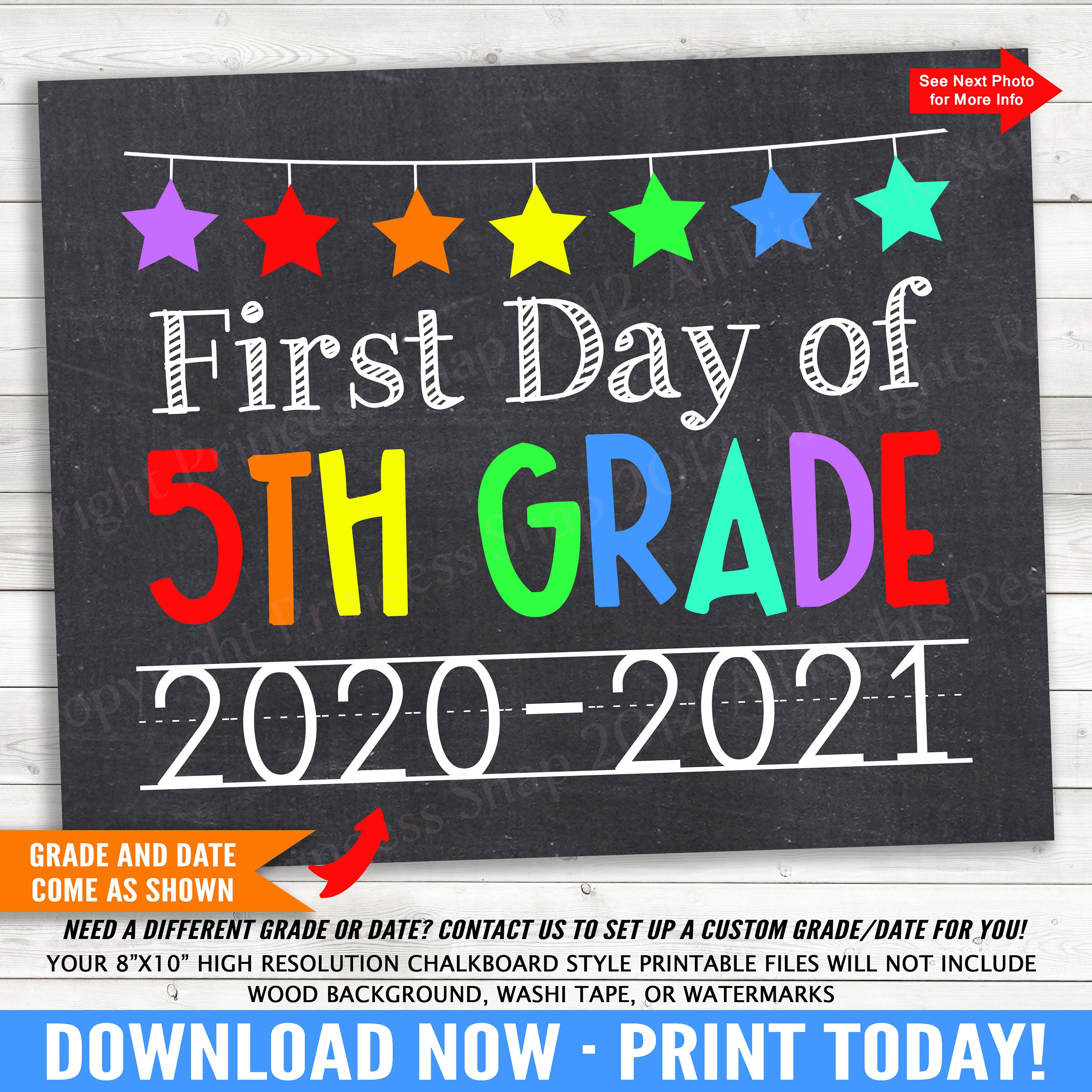 First Day of 5th Grade 2020-2021 Photo Prop Rainbow First ...