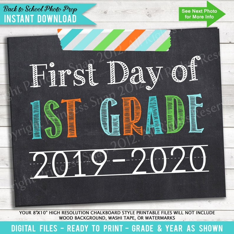photo regarding First Day of 1st Grade Printable Sign named Initially Working day of 1st Quality, 2019-2020 1st Working day Higher education, Environmentally friendly Orange Teal, Initial Working day 1st Quality, 1st Working day To start with Quality, Very first Working day of College, 8\