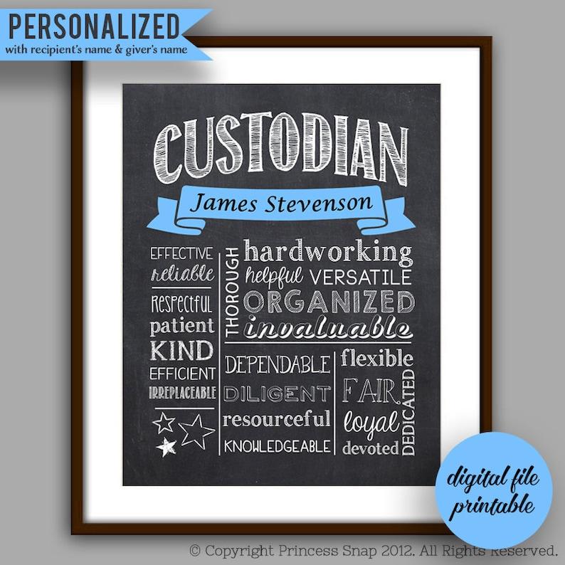 Custodian Gift Custodian Chalkboard Style Printable Etsy