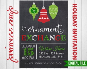 Ornament Exchange Party Invitation, Printable Ornament Invitation,  5x7 or 4x6, Holiday Party Invitation, DIY Holiday Printable Invitation