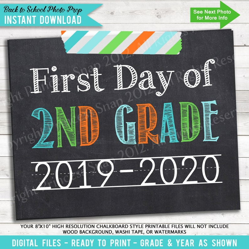 picture regarding First Day of Second Grade Printable Sign named 1st Working day of 2nd Quality, 2019-2020 1st Working day Higher education, Environmentally friendly Orange Teal, 1st Working day 2nd Quality, Very first Working day of Instant Quality, Printable Indication, 8\