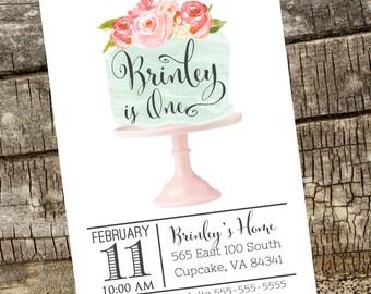 Birthday Party Invitation, Cake Invitation, Watercolor Birthday Invitation