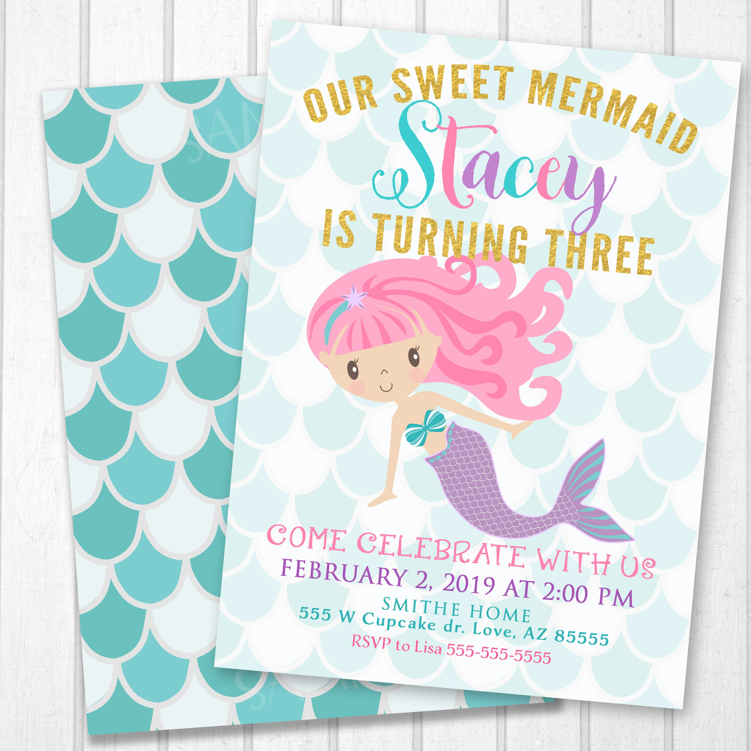 Mermaid Invitation Sea Party Ocean Birthday