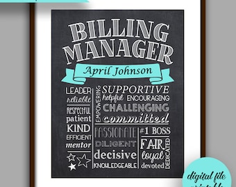 Billing Manager Gift, Billing Manager Chalkboard Style Printable, Customized Bosses Gift, Manager Unique Gift, Boss Digital File