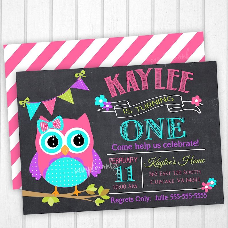 Owl Birthday Party Invitation 5x7 Or 4x6 Pink And Teal