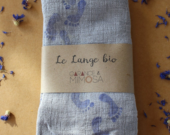 Baby blue footprints hand dyed organic muslin