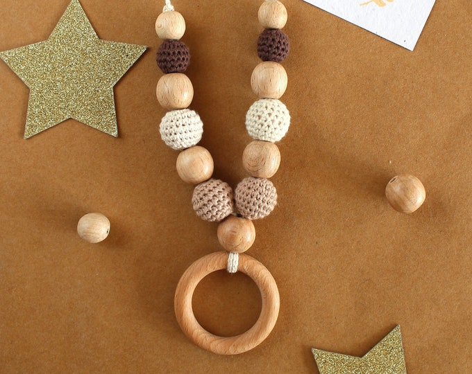 Breastfeeding teething and babywearing necklace sand colour