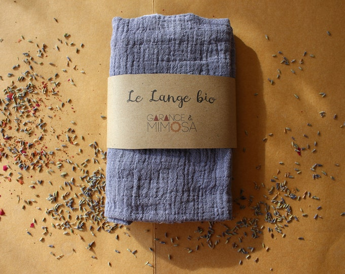 lavender blue hand dyed organic muslin