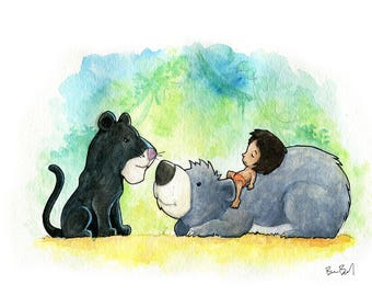 Bageera, Baloo, and Mowgli Jungle Book Inspired Watercolor Print