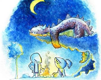 Sleeping Dragon at Night Watercolor Print