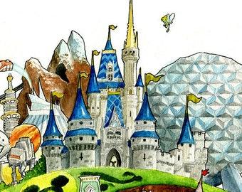 Disney World Fan Art Watercolor Print