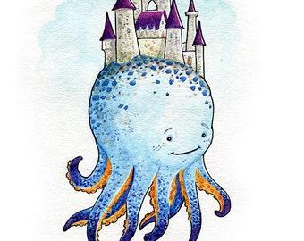 Octocastle Watercolor Print