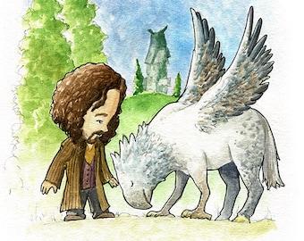 Sirius Black and Buckbeak Fan Art Watercolor Print