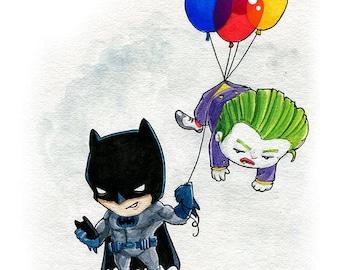 Batman and the Joker Fan Art Watercolor Print
