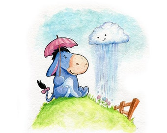 Eeyore Inspired Watercolor Print