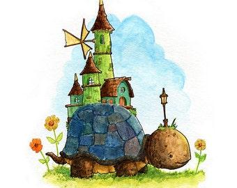 Turtle Town Watercolor Print