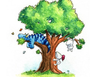 Tree Dragon Watercolor Print