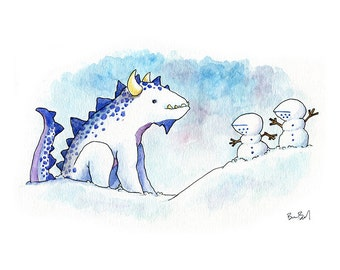 The Snow Dragon and Two Snowy Knights