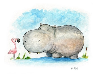 A Little Hippo Watercolor Print