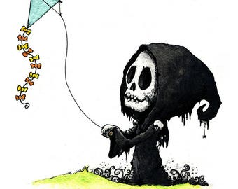 Grim Reaper and a Kite Watercolor Print