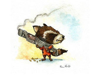 Rocket the Raccoon Watercolor Print