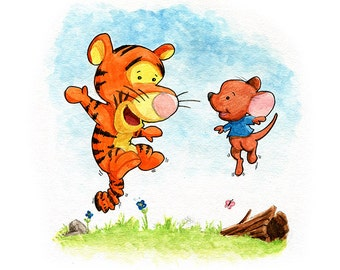Tigger and Roo Fan Art Watercolor Print