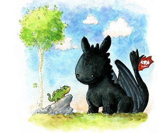 Toothless Inspired Watercolor Print