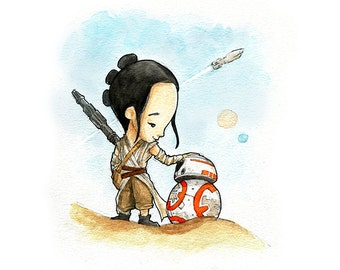 A Girl and Her Droid Watercolor Print