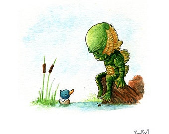 The Creature From The Black Lagoon Watercolor Print