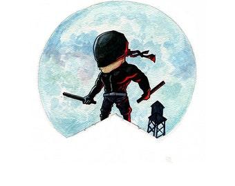 Daredevil In Black Inspired Watercolor Print