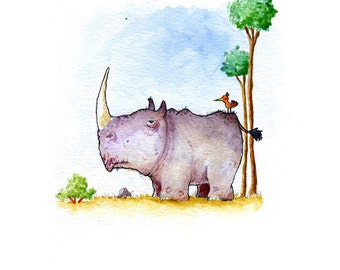Rhino and Passenger Watercolor Print