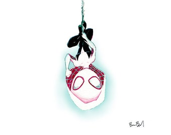 Spider-Gwen Inspired Watercolor Print
