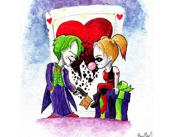 The Joker and Harley Quinn Watercolor Print