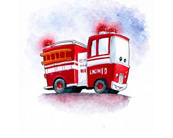 Red Fire Engine 10 - Little Red Fire Engine Watercolor for Boys room decor