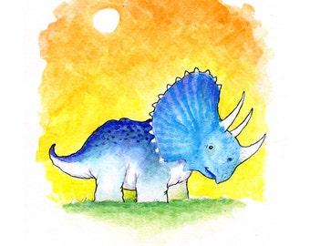 Triceratops Dinosaur Watercolor