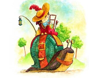 Cutepunk Snailcar Watercolor Print