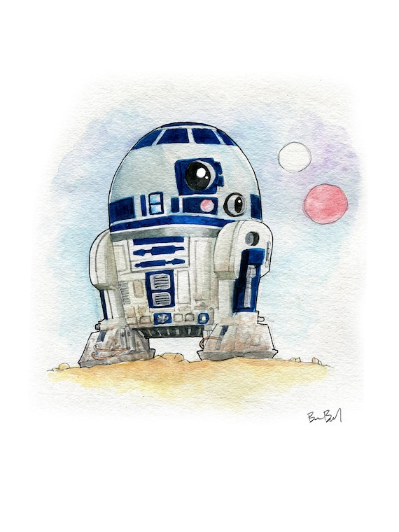 Multi Star Wars Watercolor R2-D2 Floral