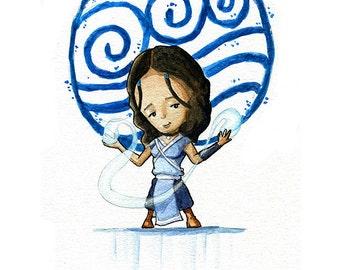 Katara the Waterbender Watercolor Print