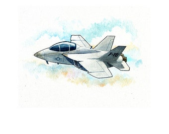 F-18 Hornet Fighter Jet Watercolor Print
